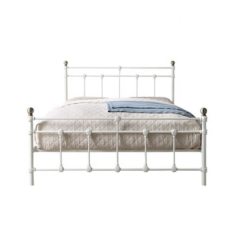 Antique style simple design white color double queen size adult wrought iron metal bed frame