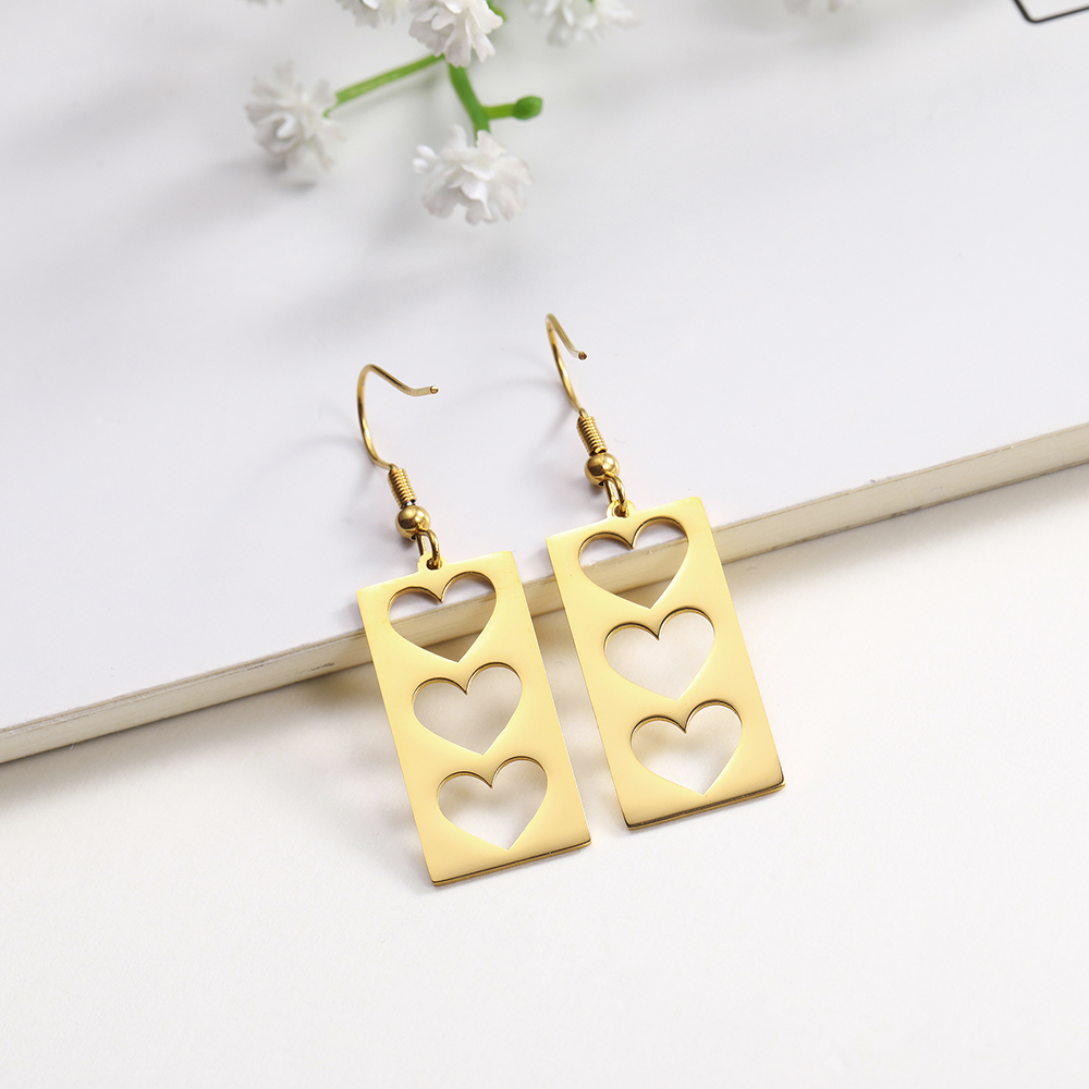 2020 High Quality 316L Stainless Steel Big Stud Silver Earrings Love Heart Hollow Gold Dangle Earrings Black Wedding Jewelry