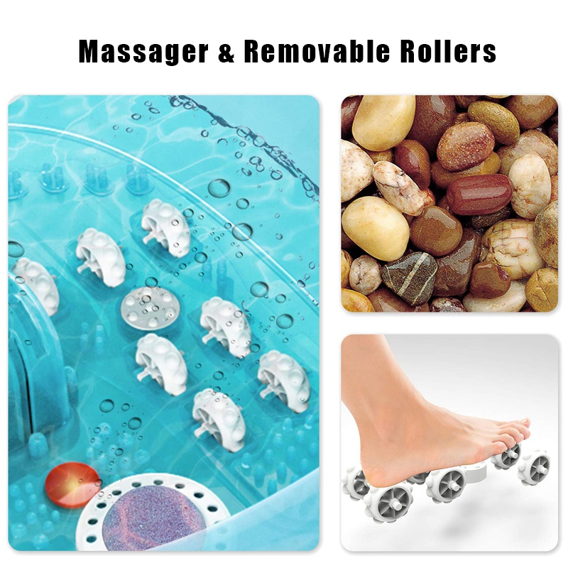 Electric Pedicure Ionic Detox Machine Massage Roller Vibration Heat Bubble Foot Wash Spa Bath Massager