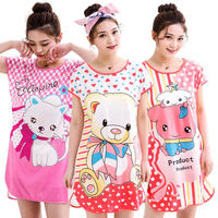 HSZ 333# women's sleepwear comfortable pajamas girl cartoon night dress cozy nightwear ladies home wear custom sleep clothes