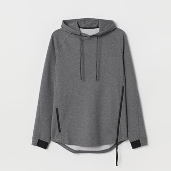 Wholesale popular style plain hoodies men's fashion drawstring hood side zippers sweatshirt