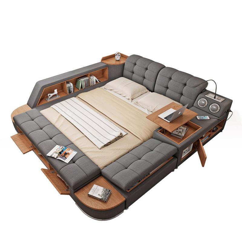 أثاث غرفة نوم سرير ملكي سمّاعات بلوتوث الفاخرة الحديثة النسيج الذكية الملكة سرير مزدوج مع التخزين حصير تصميم سرير لينة