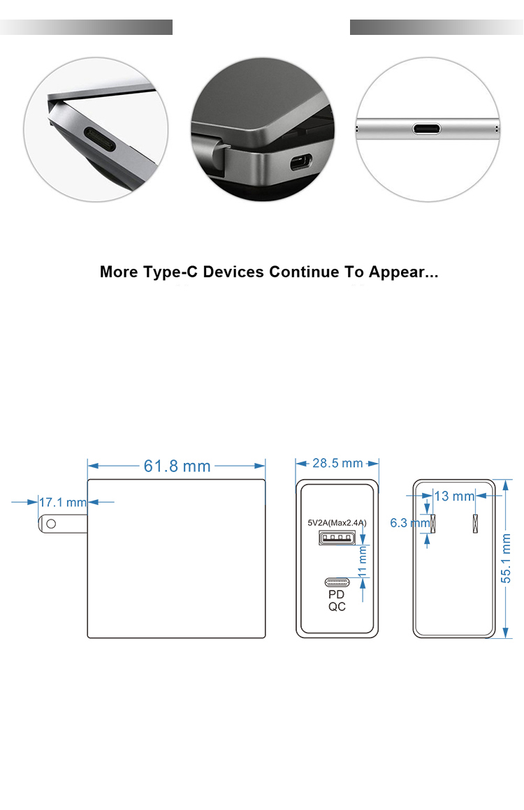 Kuncan Wall Charger Plug 2 Ports 45w Shenzhen Usb Type C Laptop Qc3.0 Universal Pd Usb-c Power Supply