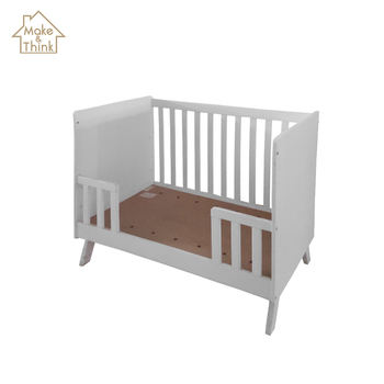 Modern wooden new born white baby bed cot crib design