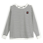 Latest Designs Women Round Collar Striped Embroidery Logo Long Sleeve T-shirt