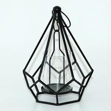Металлический подсвечник из розового золота, геометрический праздничный декор, железный фонарик со свечой, подсвечник, ветрозащитная ламп...(Китай)