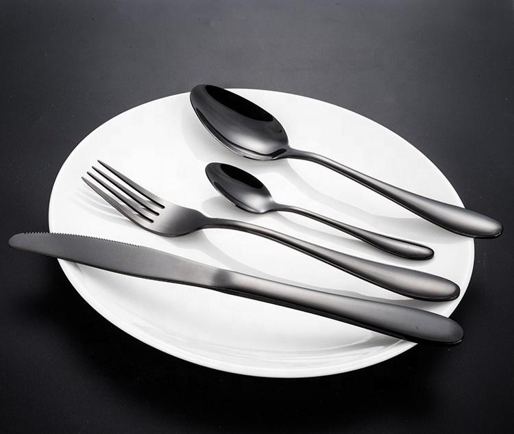 LDX014 Bulk stainless steel black color set flatware
