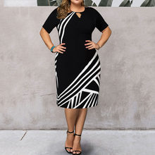 2020 винтажное сексуальное Полосатое платье миди с принтом, женское платье с круглым вырезом и коротким рукавом для выпускного вечера, женско...(China)