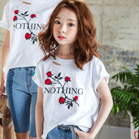 New Fashion Rose Kids Girls T Shirt Short Sleeve Children T Shirts for Girl Top Clothes Clothing Summer Spring