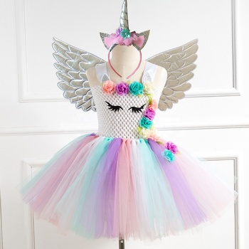 Summer Kids Sleeveless Rainbow Princess Birthday Party Toddler Baby Girl Clothes Unicorn Dress With Headband Wings