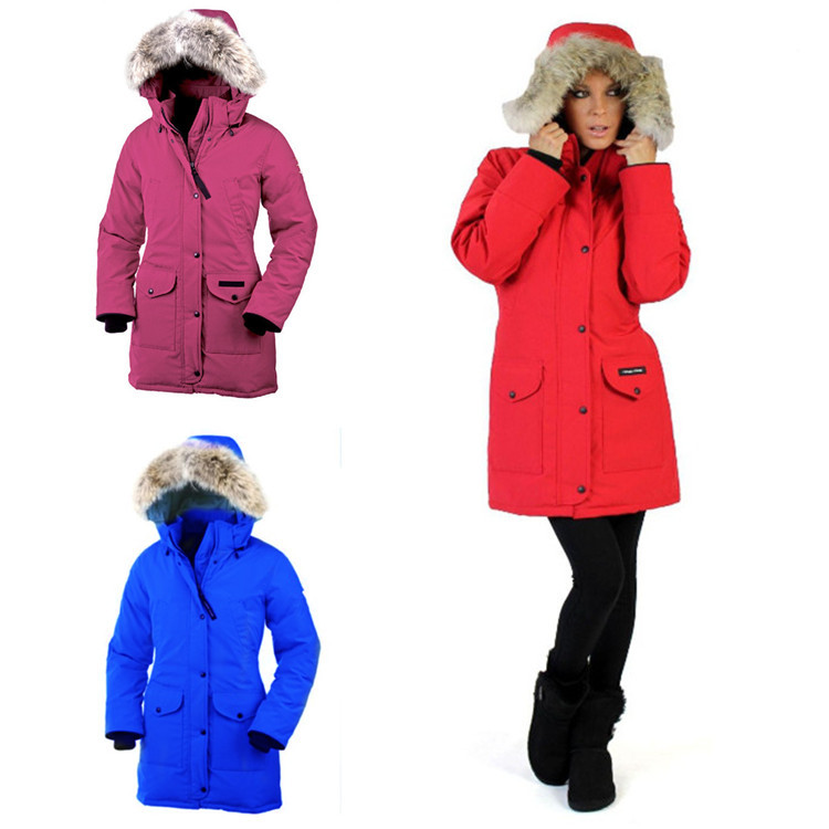7012 Woman Outside -30 Degrees Thick Windproof Goose Down Jackets