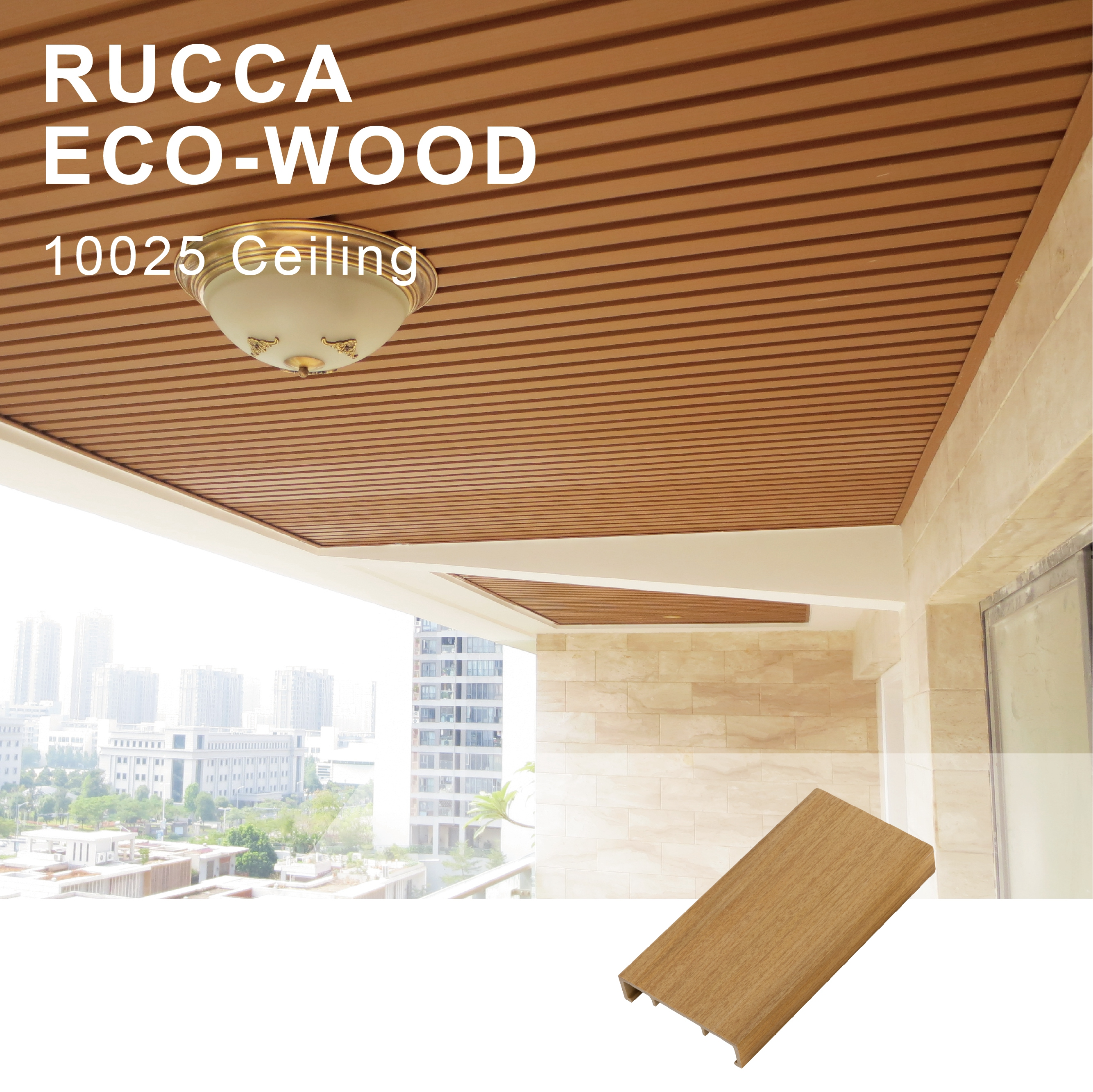 Foshan Rucca WPC Modern Wood Ceiling For Interior Decoration, pvc ceiling panel 100*25mm Guangdong building materials
