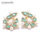 Hot sale pearl cz stud earrings party girl luxury jewelry sweet earrings for women 2019