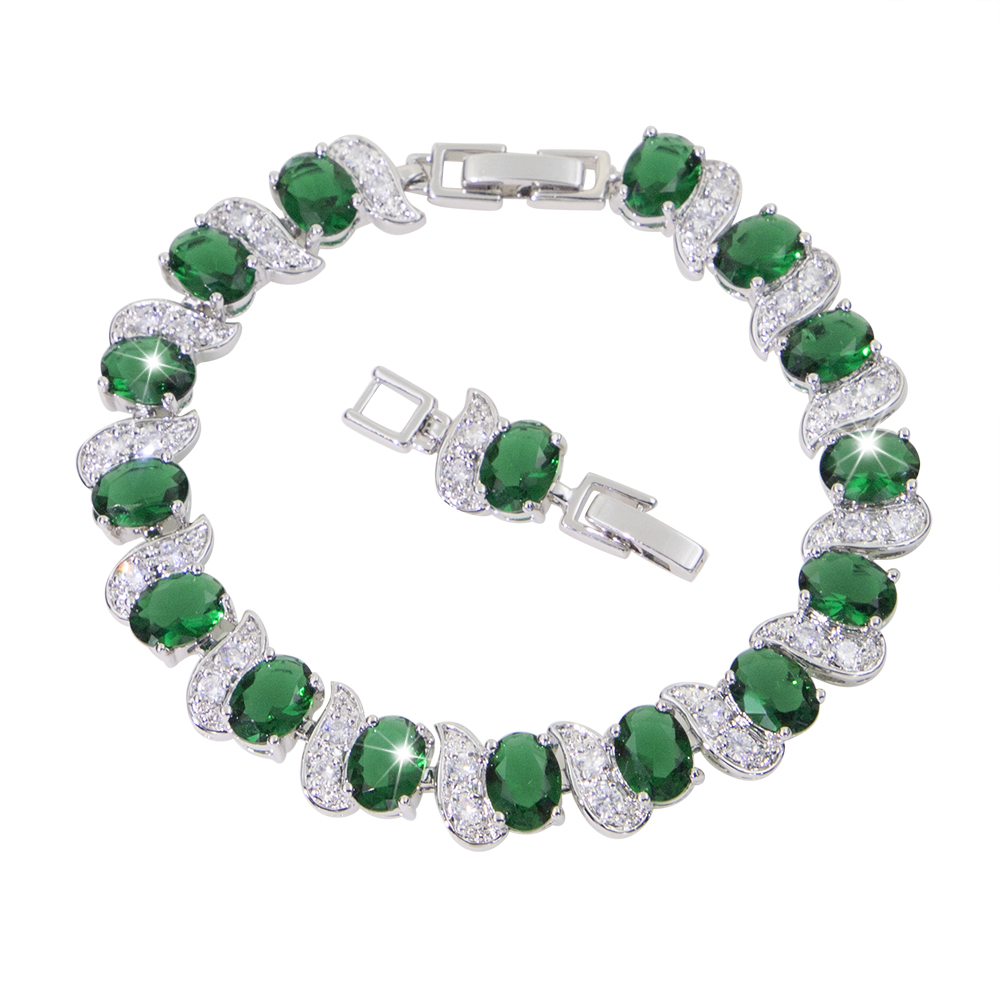 white gold plated Bracelet green and blue  Stone Woman Christmas Love Jewelry bisuteria Evil Wholesale bracelet for wedding gift