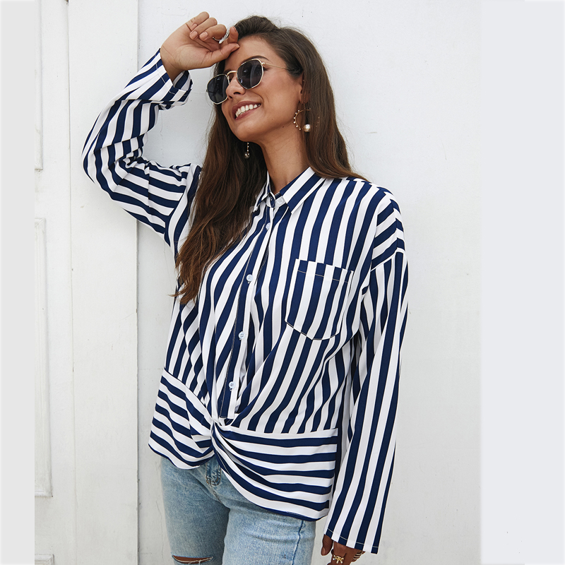 Customize Casual Long Sleeve Pocket Button Down Stripe Chiffon <strong>Blouse</strong> For Women