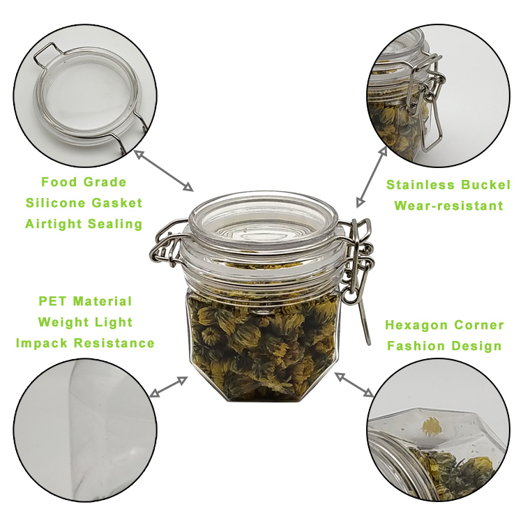 200ml plastic jar and lid Clear Containers With Screw On Lids - Refillable Round Empty Plastic Slime Storage Containers