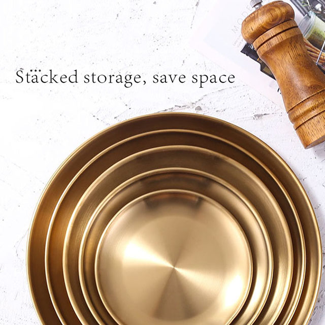 New arrival stainless steel gold round food serving dinner dishes plate