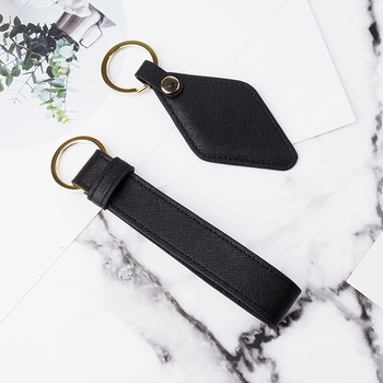 wholesale custom saffiano leather black keychain