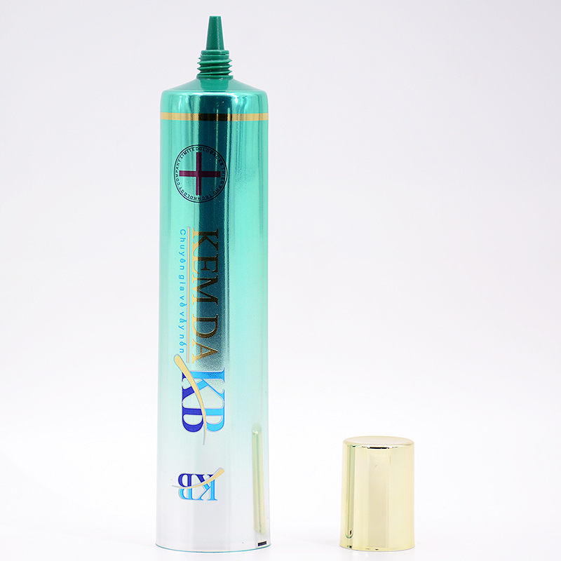 50ml high gloss aluminum laminated plastic tube with long nozzle head for hair and skin care cosmetic packaging
