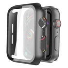 For Apple Watch 44mm Series 5/4 Screen Protector Built-in Tempered Glass All-around Hard PC Case Protective Cover for iWatch SE