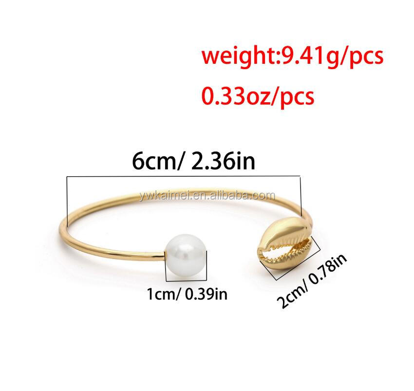 Charm Gold silver Cuff Bracelets Bangles Women Simple Geometric circle Shell Pearl Open Bracelet Wrist Chain Accessories