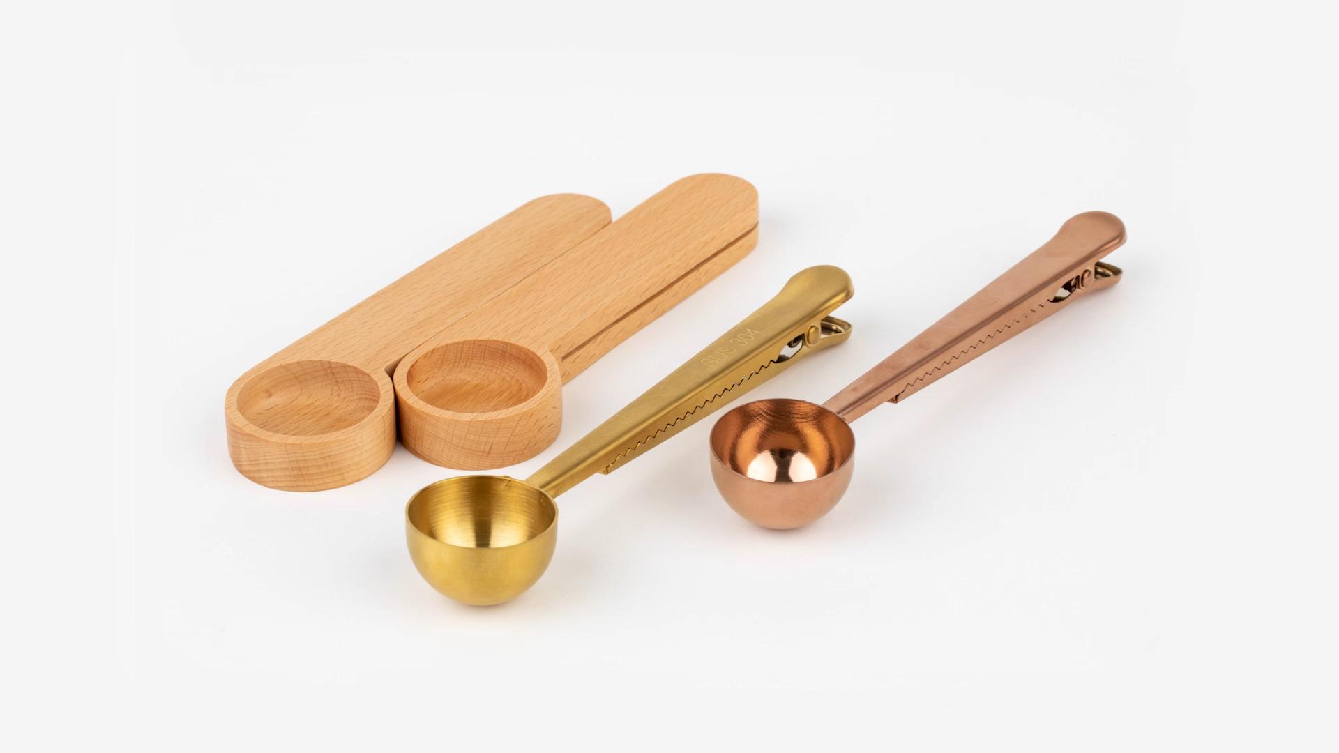 Piccolo Legno di Bambù Tè Cucchiaio Morsetto di Legno Chicco di Caffè di Misura Scoop con Il Sacchetto Della Clip