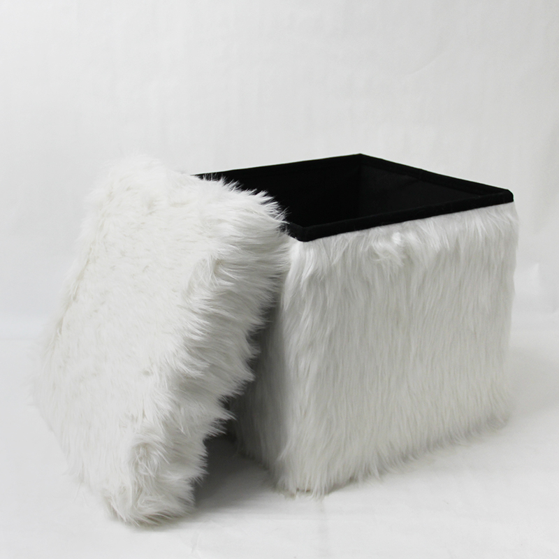 Hot sale modern and fashion faux fur folding storage stool ottoman pouf foot stool for living room