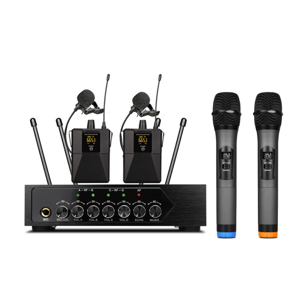 S1400 Live Performance Bluetooth Echo Nirkabel UHF Genggam 4 Channel Mikrofon