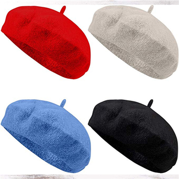 ACE Womens Solid Color Beret 100% Wool French Beanie Cap Hat Custom Red Beret Hat,Casquette Beret Homme