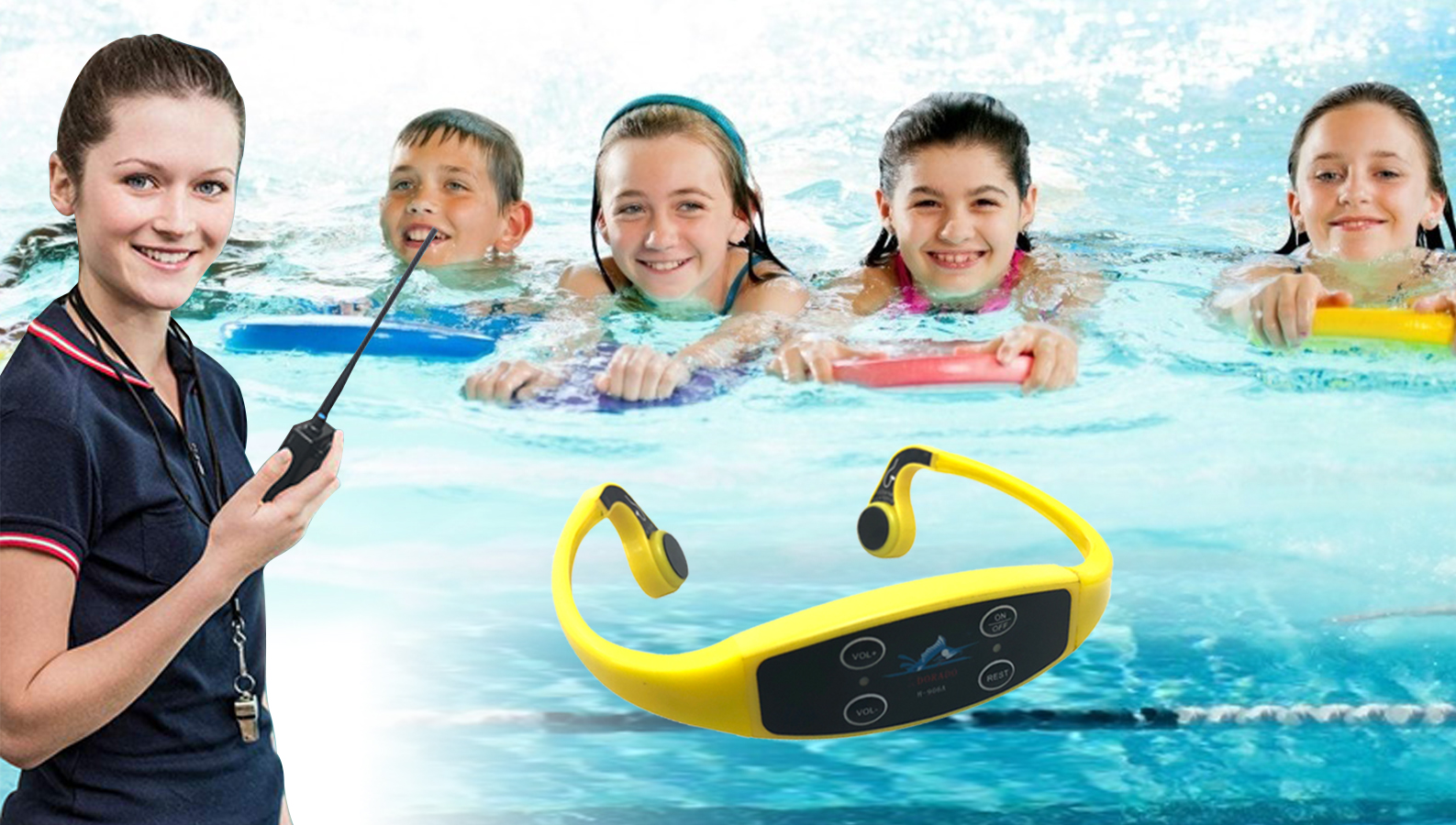 New Underwater Sports and Swimming Social Distance Training Teaching Aquatic Bone Conduction Headset
