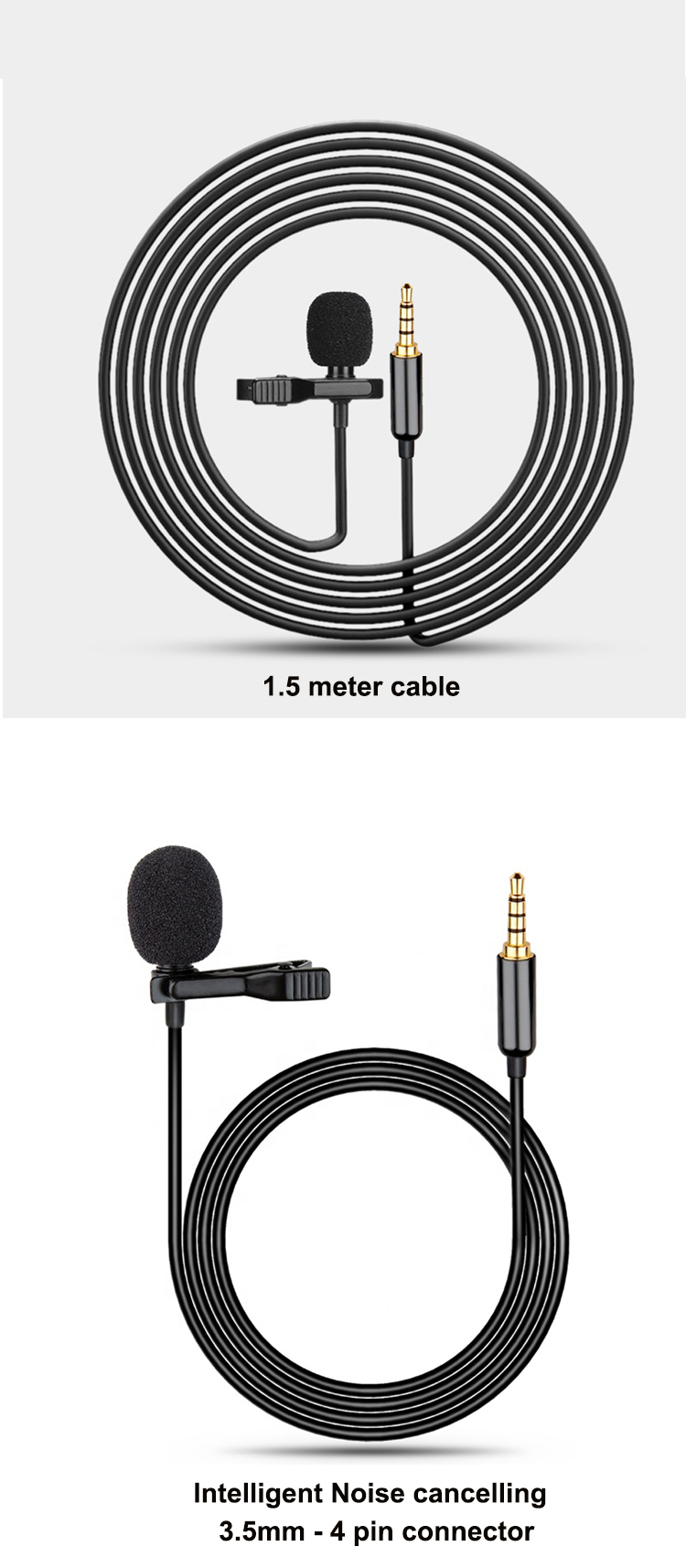 Good price cheap wholesale 1.5 meter hidden camera mic lavalier microphone for phone