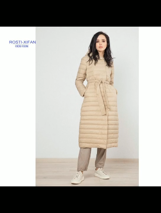 Women's Long Style Puffer Duck Down Coat With Hood Winter Outwear