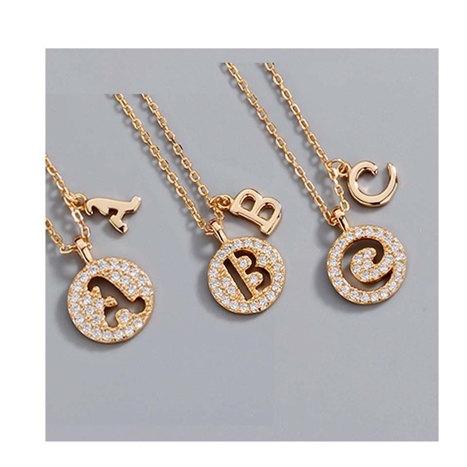 YIDING Haute qualité 2020 bijoux femmes collier pendentif initial en gros, 925 en argent sterling or 26 alphabet lettre collier