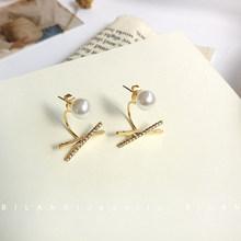 S925 иглы Модные Ювелирные серьги креативные два ношение высокое качество кристалл красивый жемчуг X post серьги для вечерние в подарок(Китай)