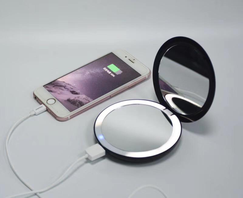 새로운 디자인 여행 휴대용 소형 거울 powerbank lightup led 가격
