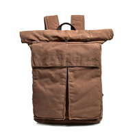 High quality fashion large capacity outdoor England waterproof rip stop travel vintage rolling up waxed canvas backpack bag