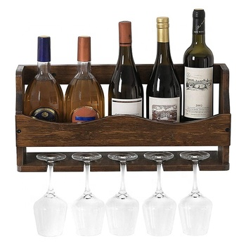 Rustic Wall Mounted Wine Rack, Bamboo Bottle and Glass Holder, Holds 6 Bottles, 5 Glasses