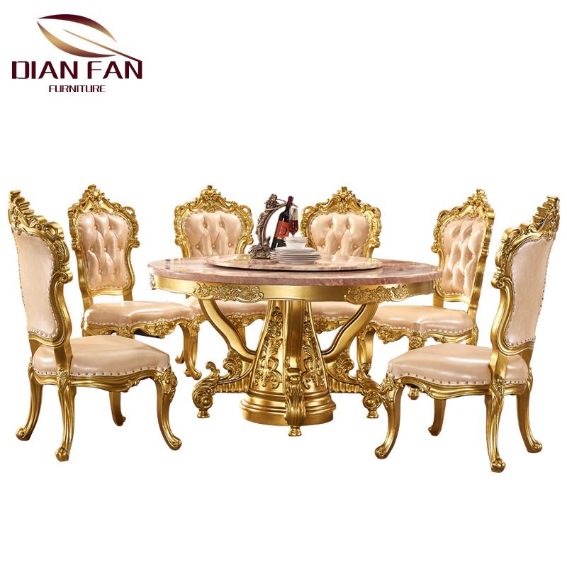 111 Luxury Baroque GOLD มือไม้แกะสลักรอบโต๊ะรับประทานอาหารและเก้าอี้