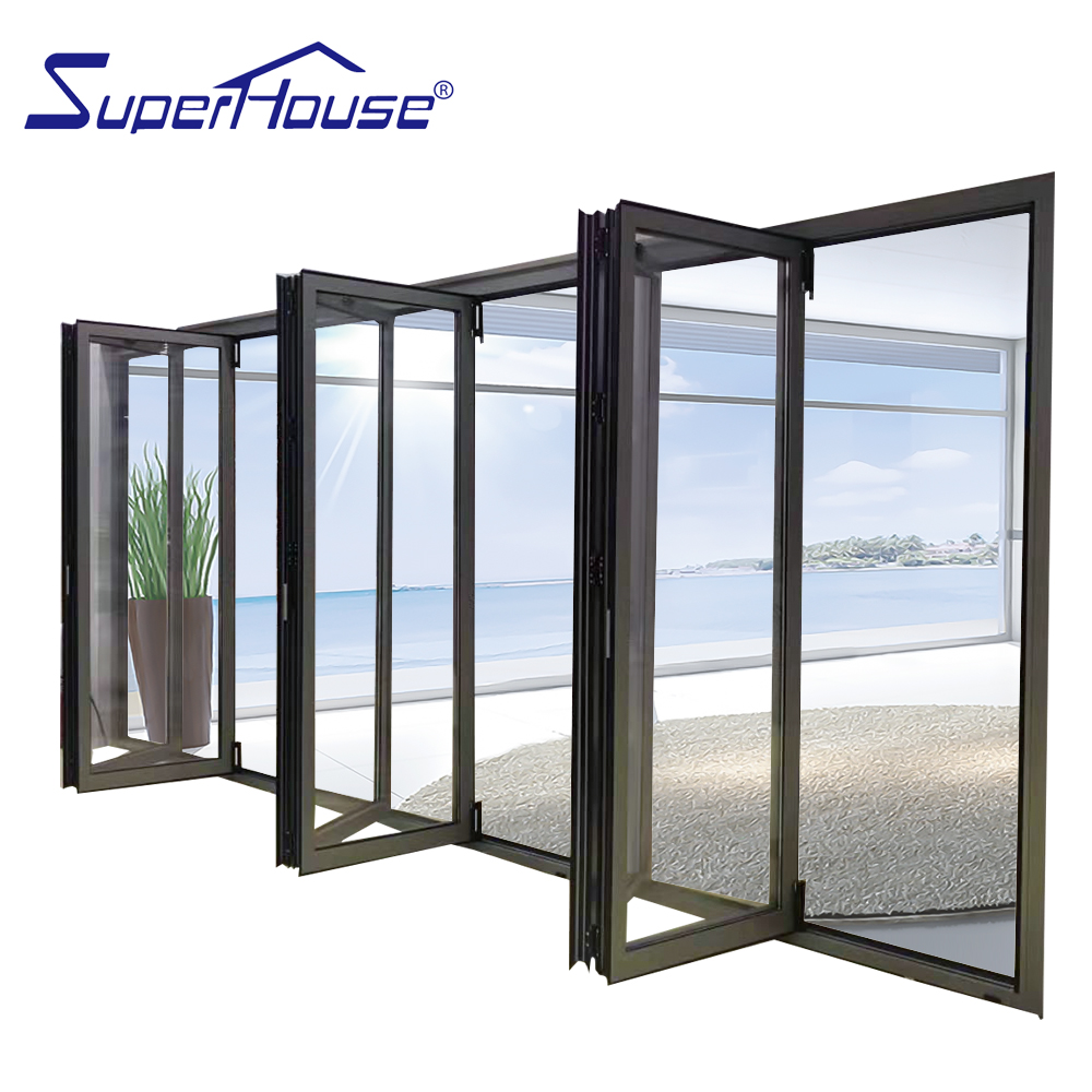 Australia standard competitive price exterior aluminum folding doors with black color