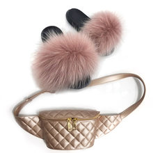 Роскошные женские модные пушистые меховые тапочки, набор повседневных плюшевых пушистых меховых тапочек, набор сумочек, летние пляжные мех...(Китай)