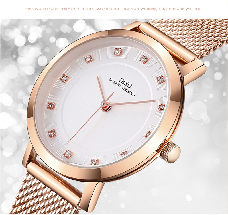 IBSO Brand Luxury Women Quartz Watch Crystal Bracelet Necklace Sets Female Jewelry Set Fashion Rose Gold Set Watch Lady's Gift