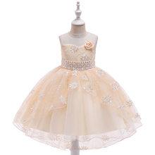 Новинка 2020 года; Детская одежда; Платье со шлейфом для девочек; Платье с вышивкой в виде ласточкиного хвоста; Свадебное платье принцессы с цв...(Китай)