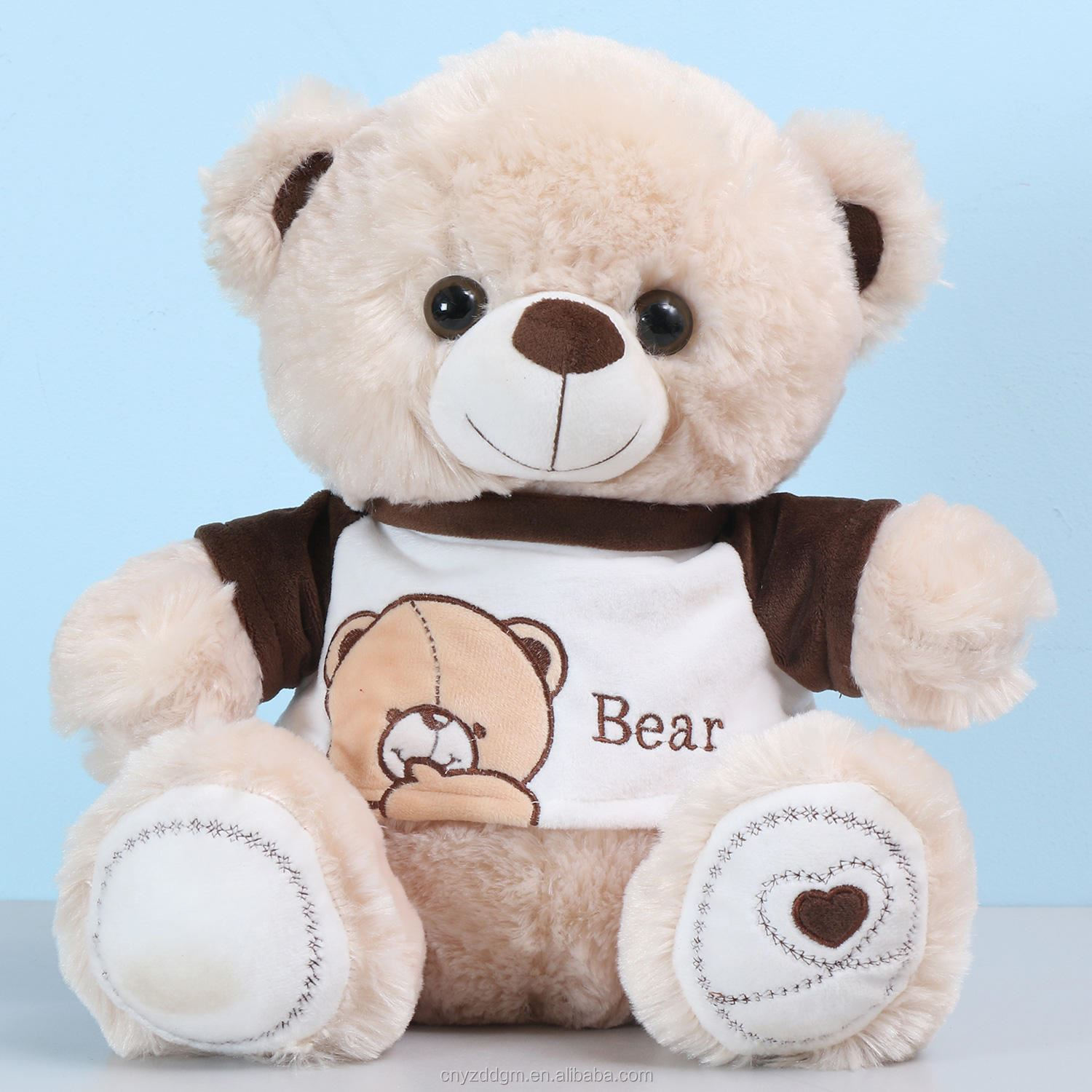 Lovely animal shape 30cm kids teddy bear white Soft Baby Plush Teddy Bear with Sweater