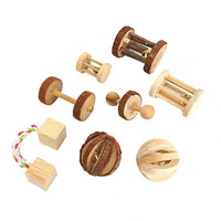Cute Natural Wooden Rabbits Toys Pine Dumbbells Unicycle Bell Roller Chew Toys for Guinea Pigs Rat Small Pet Molars Supplies