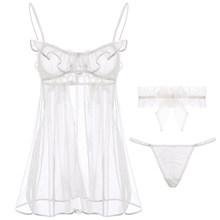 Сексуальное мини-платье, прозрачное, горячее, женское, прозрачное, нижнее белье, Babydoll, с ремешками, кольцо с оборками, белое, черное, ночное бе...(Китай)