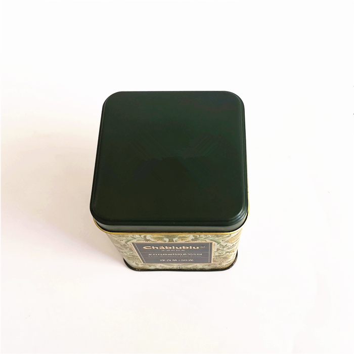 OEM high quality square shaped tea tin caddy coffee been packaging metal tin box
