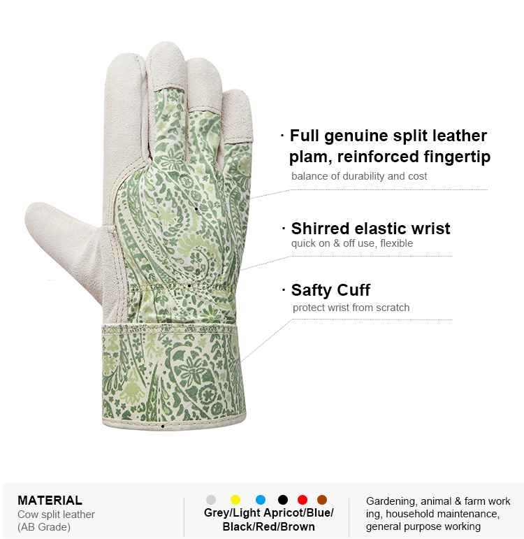 Pattern customizable pigskin leather cut resistant garden line gardening gloves bulk