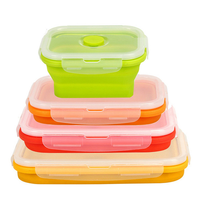 Set of 4 Microwave and Freezer Safe Collapsible Silicone Food Storage Container