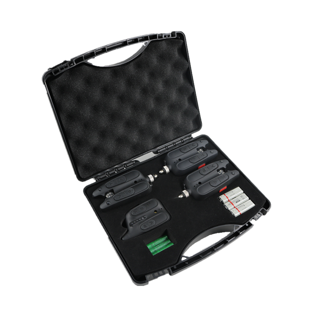 One-way Antitheft Wireless Waterproof Fish Bite Alarm RF1118 3+1 With CE, Black