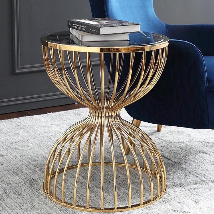 İskandinav modern mobilya oturma odası metal tel çerçeve mermer yan sehpa